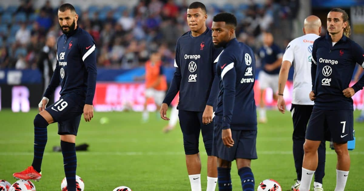 Karim Benzema Kylian Mbappe Antoine Griezmann France v Bosnia Sept 2021