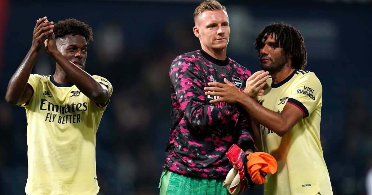 Arsenal's Nuno Tavares (left) goalkeeper Bernd Leno Mohamed Elneny August 2021