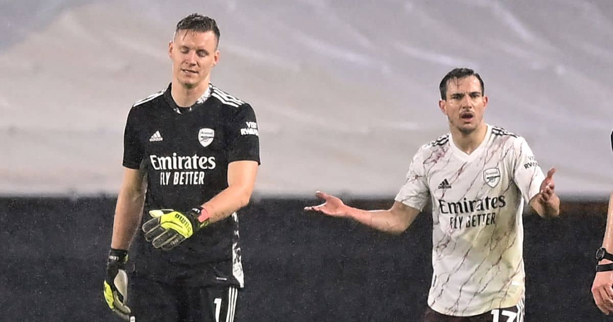 Bernd Leno and Cedric Soares react to red card