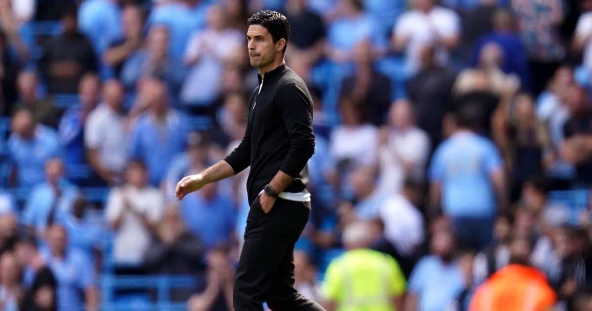 Mikel Arteta Arsenal boss at Man City August 2021