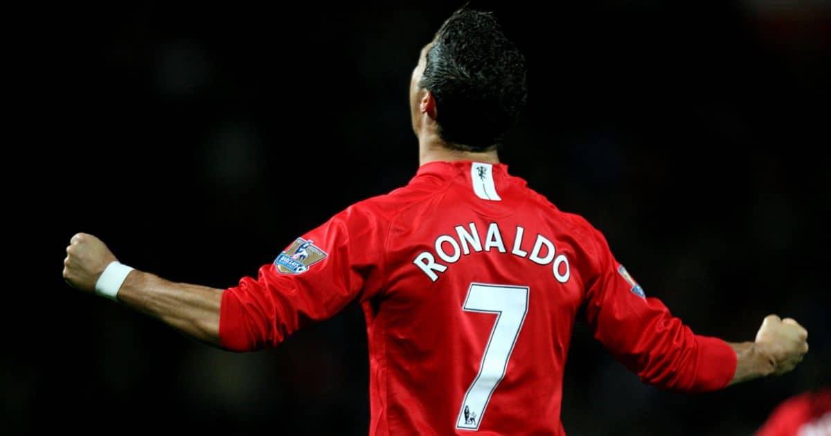 Cristiano Ronaldo celebrating in Man Utd number seven shirt