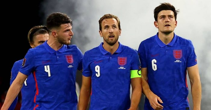 Declan Rice, Harry Kane and Harry Maguire celebrate England goal against Hungary