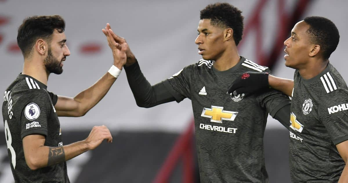 Manchester United's Marcus Rashford (centre) celebrates scoring his side's third goal of the game with Bruno Fernandes (left) and Anthony Martial during the Premier League match at Bramall Lane, Sheffield.