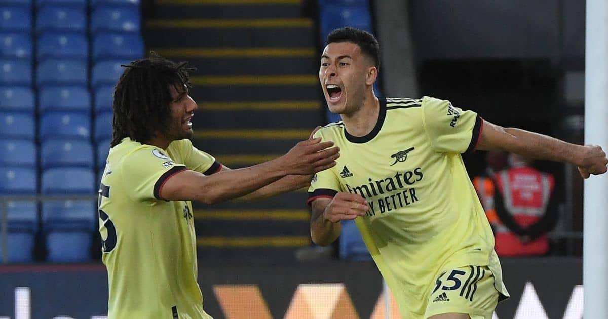 Mohamed Elneny and Gabriel Martinelli celebrate Arsenal goal