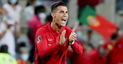 Cristiano Ronaldo clapping after scoring for Portugal
