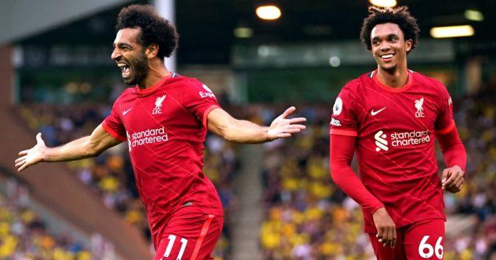 Mohamed Salah celebrating with Trent Alexander-Arnold after scoring versus Norwich 2021