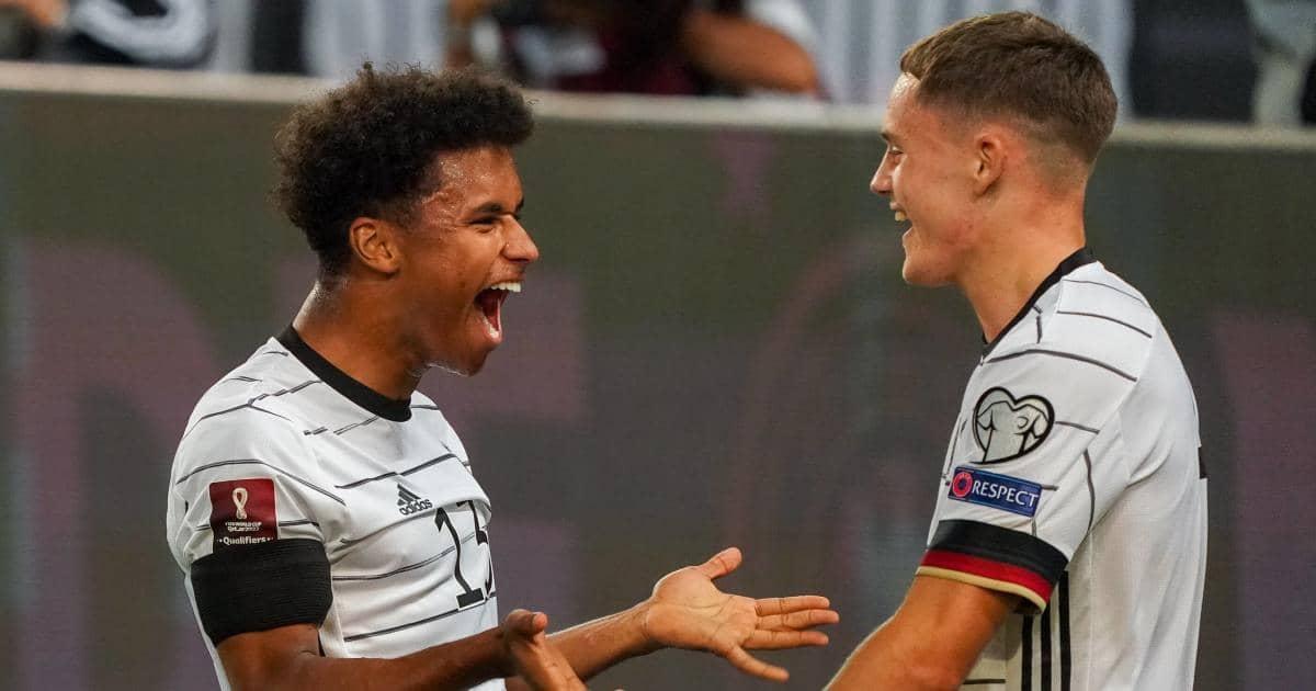 Karim Adeyemi and Florian Wirtz celebrate Germany goal