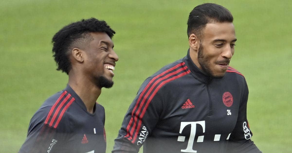 Kingsley Coman and Corentin Tolisso in Bayern Munich training