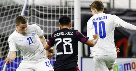 Isak Bergmann Johannesson in action for Iceland versus Mexico 2021