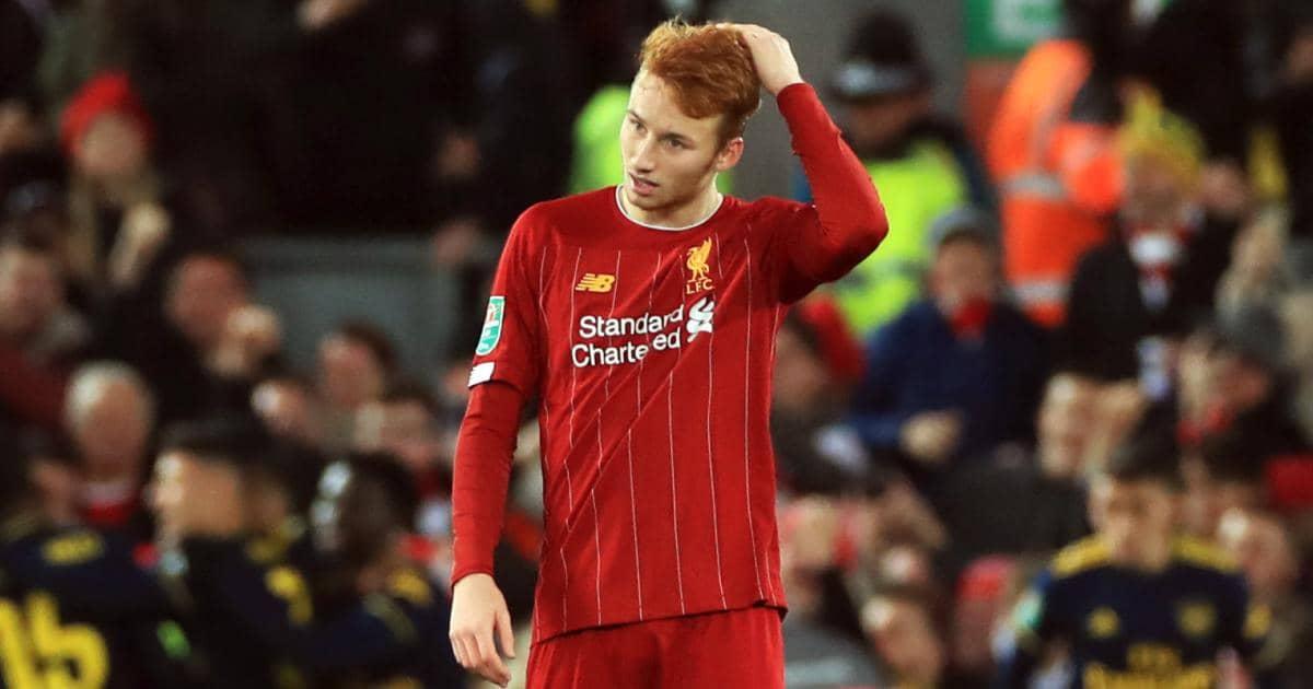 Sepp van den Berg reacting to Liverpool conceding a goal