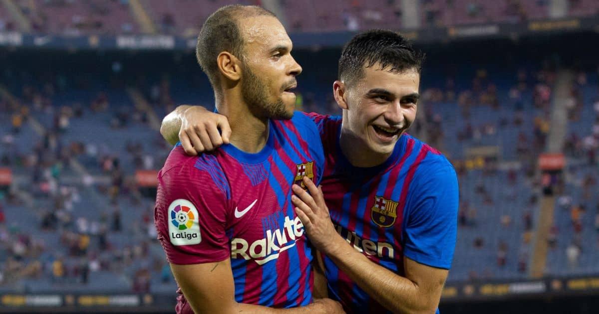 Martin Braithwaite du FC Barcelone célèbre son but avec Pedri du FC Barcelone lors du match de la Liga Santander entre le FC Barcelone et la Real Sociedad au Camp Nou à Barcelone