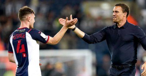 West Brom defender Dara O'Shea celebrates with boss Valerian Ismael