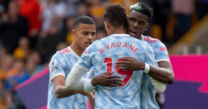 Raphael Varane Mason Greenwood Paul Pogba Manchester United August 2021