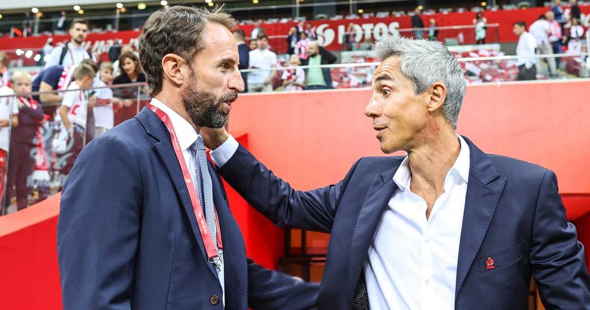 Gareth Southgate greets Paulo Sousa