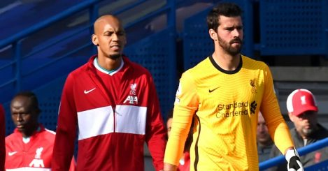Liverpool duo Alisson and Fabinho prior to kick-off during the Premier League match against Chelsea at Stamford Bridge