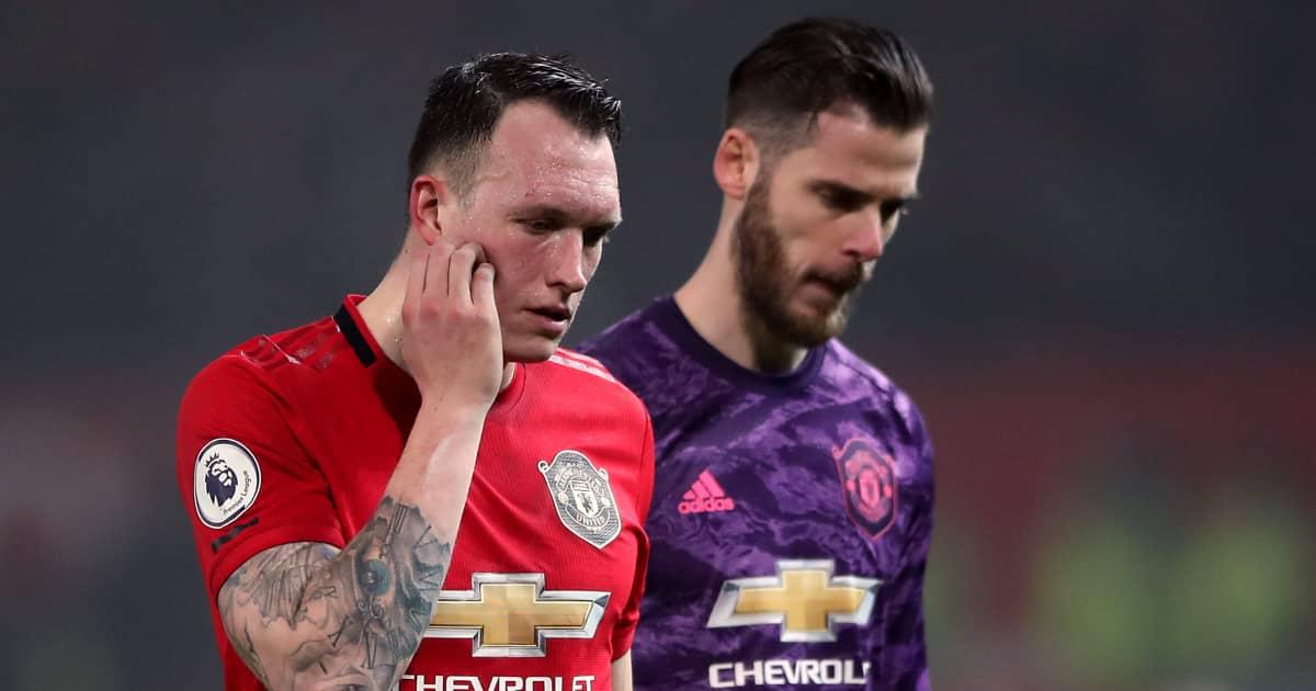 Man Utd pair Phil Jones and David de Gea looking dejected 2021