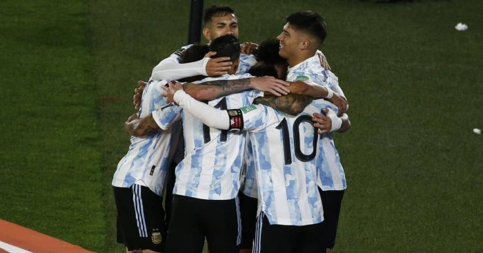 Lionel Messi celebrates after setting new Argentina landmark