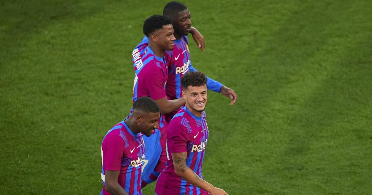 Barcelona's Emerson Royal, Phillipe Coutinho, Ansu Fati and Ousmane Dembele, August 2021