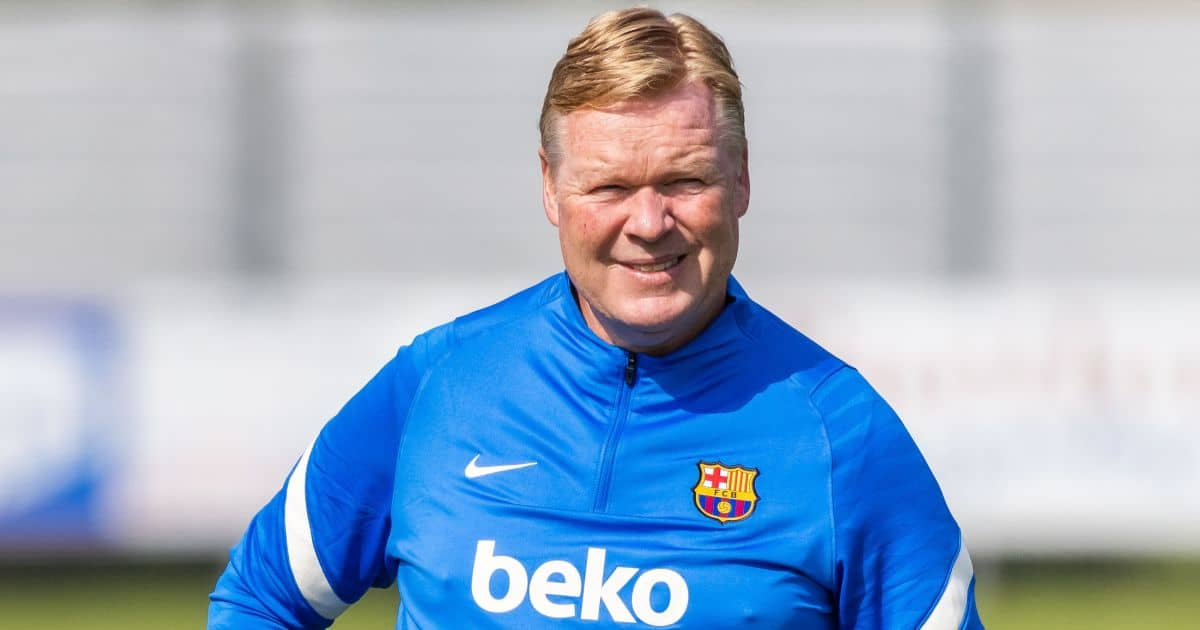 FC Barcelona training camp at the SV Aasen sports field. Ronald Koeman, coach of FC Barcelona, stands on the sports field