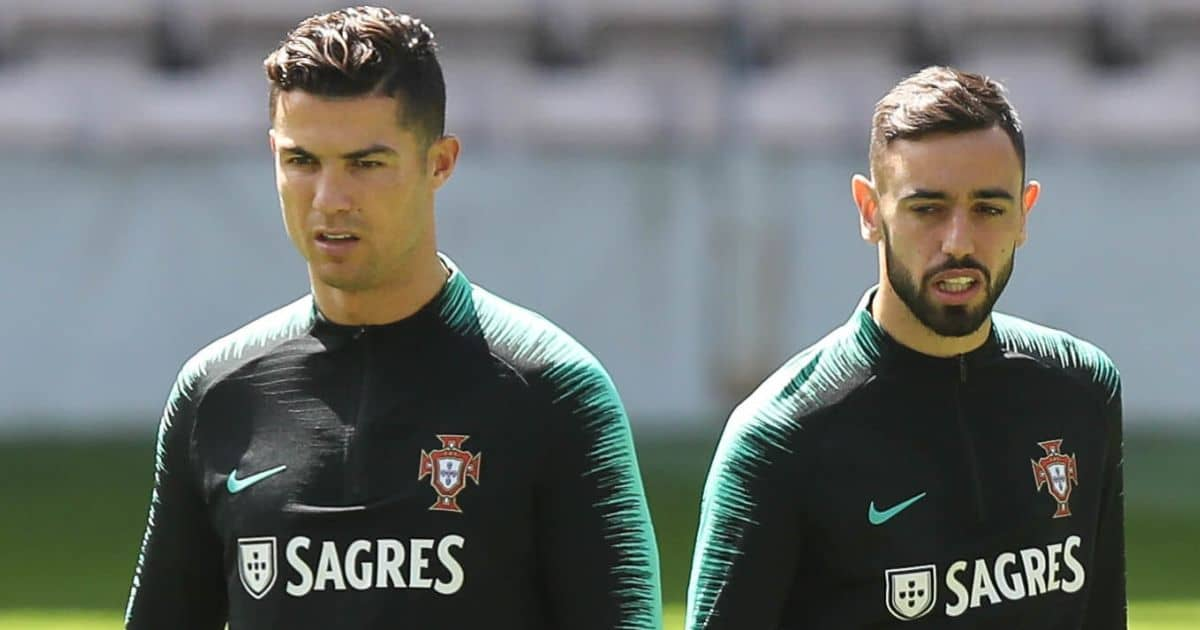 The Portuguese National Team in the Bessa Sec.XXI Stadium with Cristiano Ronaldo and Bruno Fernandes training