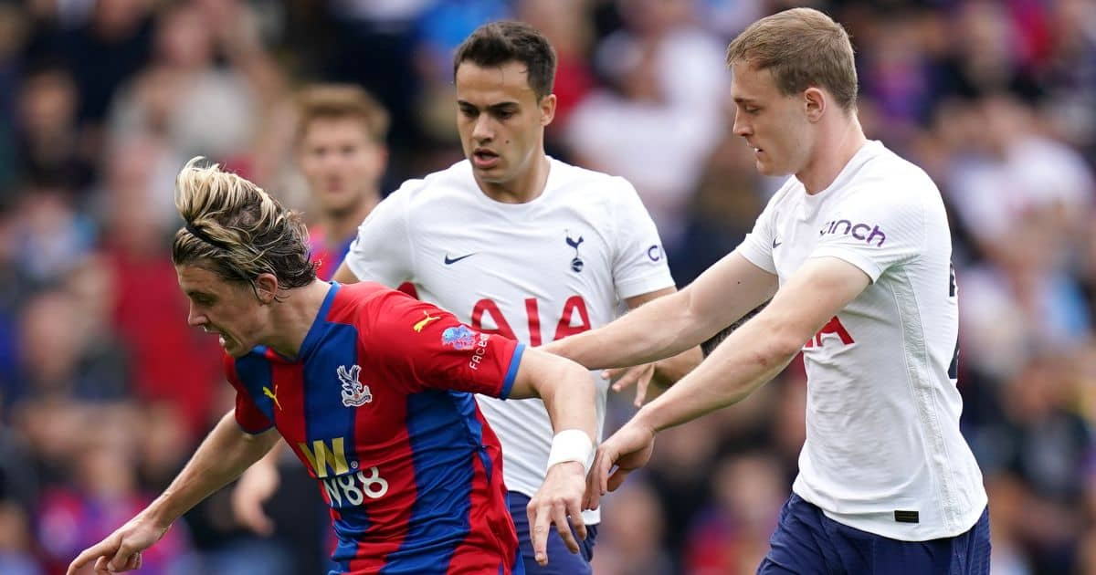 Crystal Palace's Conor Gallagher and Tottenham Hotspur's Oliver Skipp (right) battle for the ball during the Premier League match at Selhurst Park, London