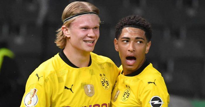 Erling Haaland celebrating a Borussia Dortmund goal with team-mate Jude Bellingham 2021