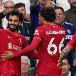Mohamed Salah celebrates his 100th Premier League goal