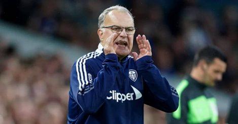 Marcelo Bielsa shouting during Leeds v Liverpool