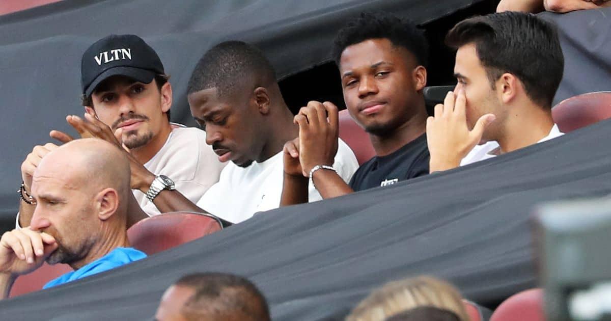 Ousmane Dembele Ansu-Fati-and-Eric Garcia Barcelona stands