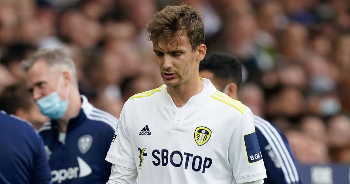 Diego Llorente leaves the pitch injured