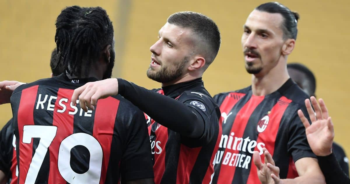 Frank Kessie of AC Milan celebrates with Ante Rebic and Zlatan Ibrahimovic in Serie A