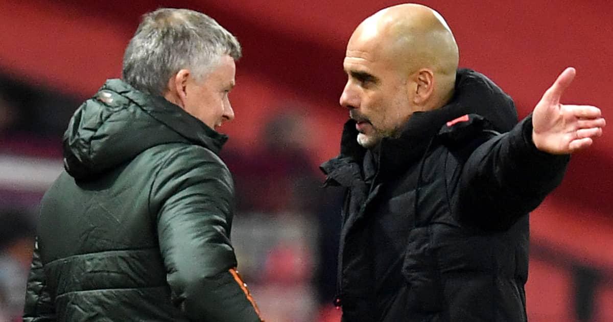 Man Utd boss Ole Gunnar Solskjaer speaking to Man City manager Pep Guardiola 2020