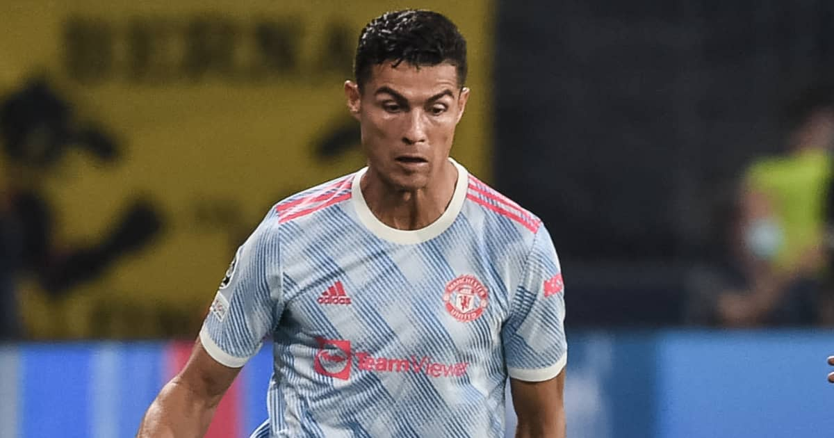 Cristiano Ronaldo playing for Man Utd in the Champions League 2021