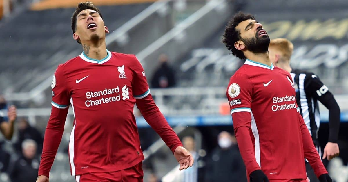 Liverpool's Roberto Firmino and Mohamed Salah react to a missed chance v Newcastle in Premier League
