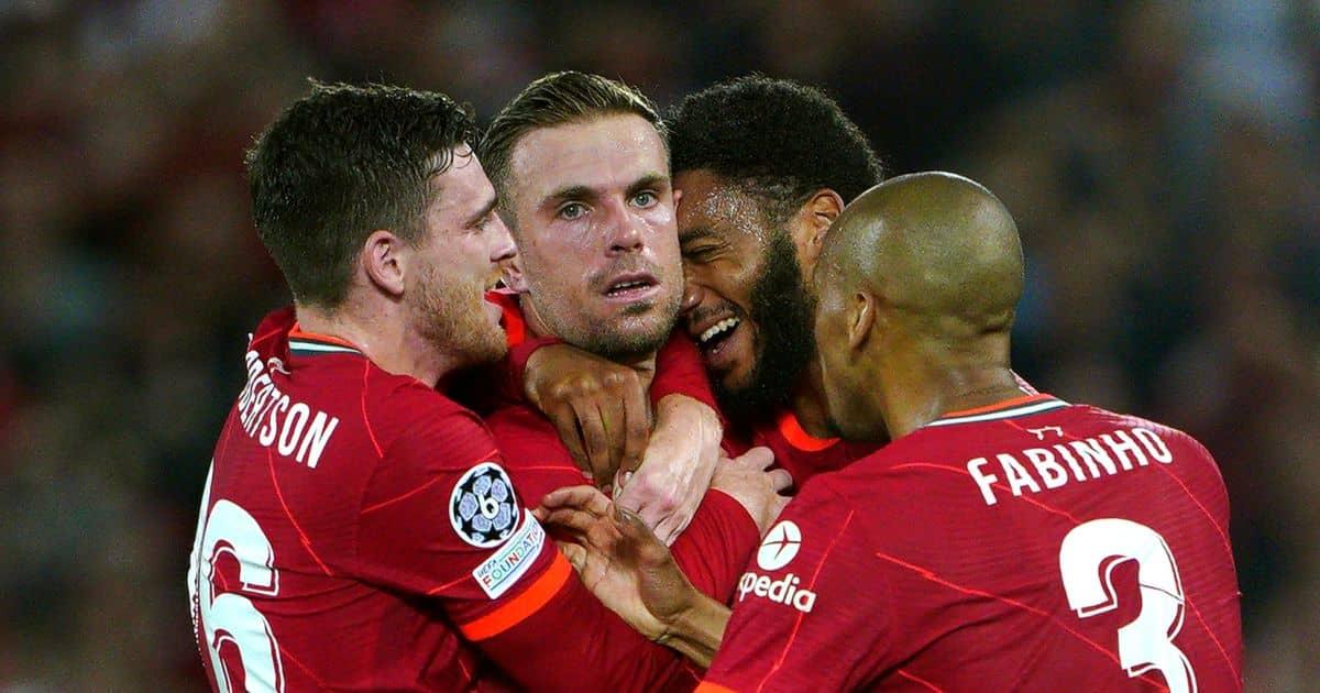 Jordan Henderson celebrates with Andy Robertson Joe Gomez and Fabinho