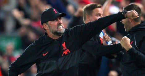 Jurgen Klopp celebrating a goal during Liverpool v Milan