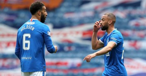 Rangers' Kemar Roofe (right) celebrates scoring their side's first goal of the game with teammate Connor Goldson during the Scottish Premiership match against Celtic at Ibrox Stadium, Glasgow