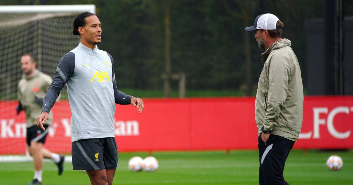 Jurgen Klopp with Virgil van Dijk in Liverpool training