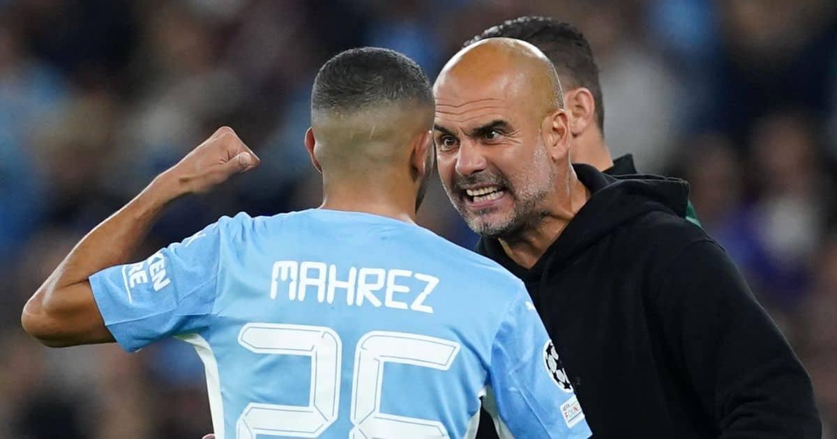 Pep Guardiola confronting Man City player Riyad Mahrez
