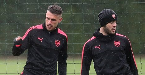 Aaron Ramsey and Jack Wilshere training for Arsenal