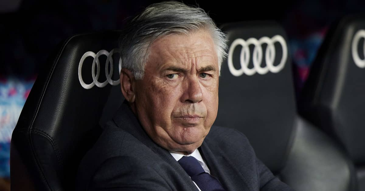 Real Madrid manager Carlo Ancelotti looking miserable 2021