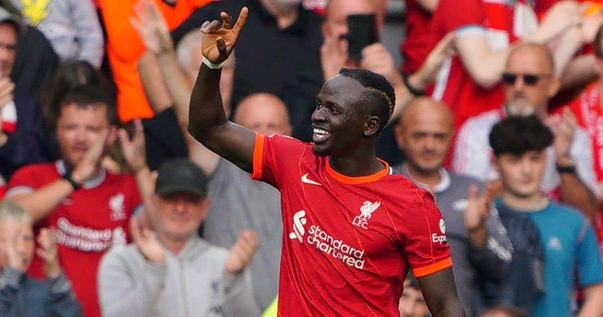 Sadio Mane celebrates scoring his 100th Liverpool goal