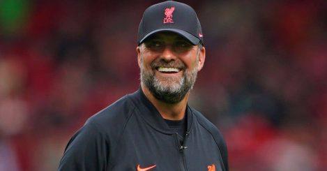 Jurgen Klopp smiling before a Liverpool game