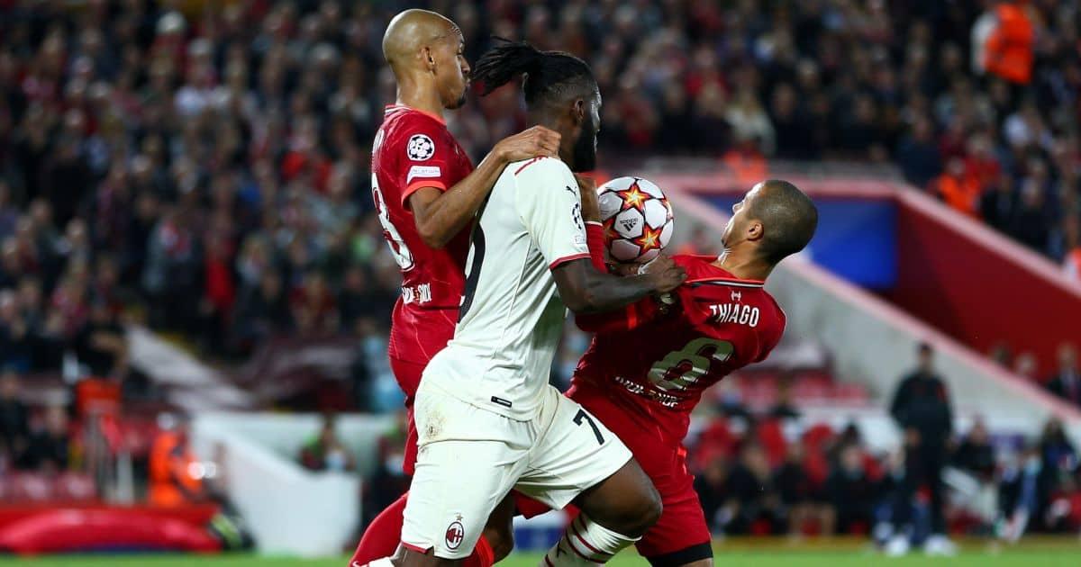 AC Milan's Franck Kessie, Liverpool's Fabinho and Thiago Alcantara