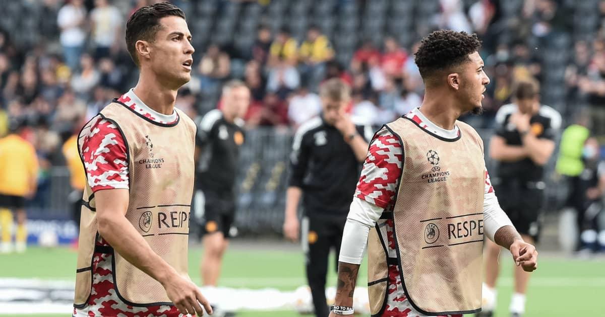 Man Utd pair Cristiano Ronaldo and Jadon Sancho during a warm-up 2021