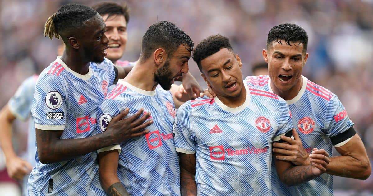 Aaron Wan-Bissaka, Bruno Fernandes, Jesse Lingard, Cristiano Ronaldo Man Utd goal celeb v West Ham at the London Stadium