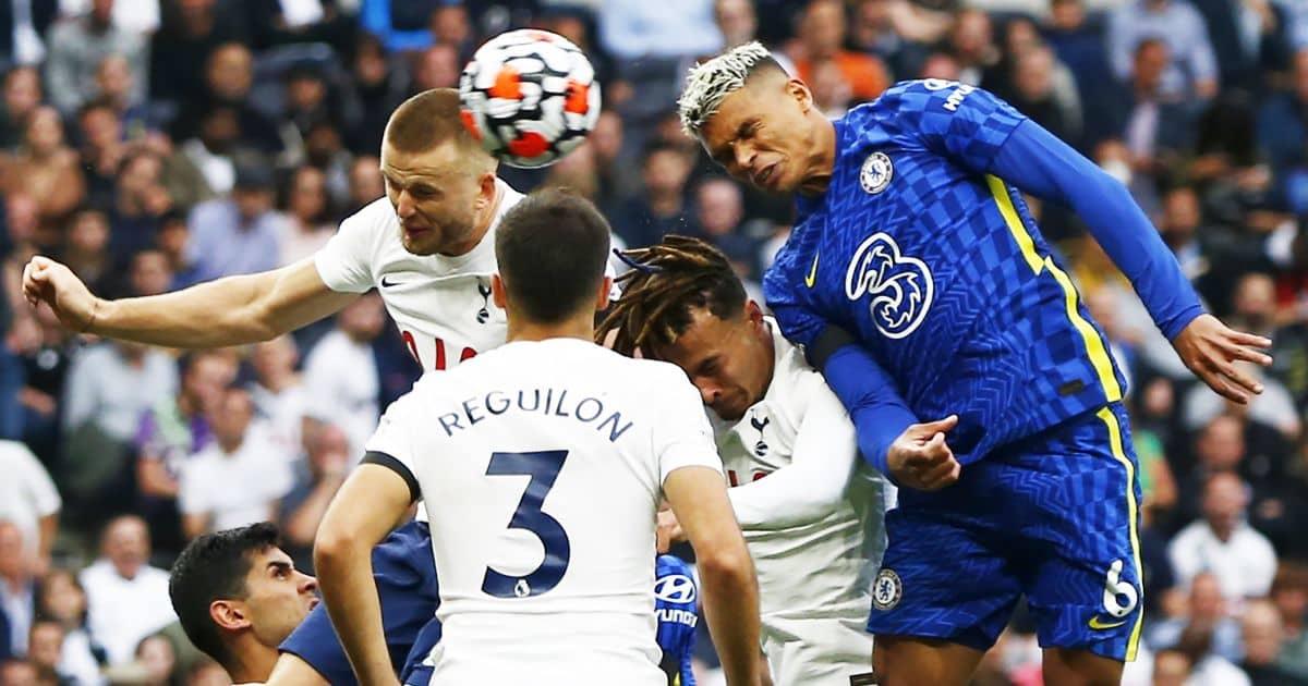 Chelsea's Thiago Silva heads in a goal against Tottenham