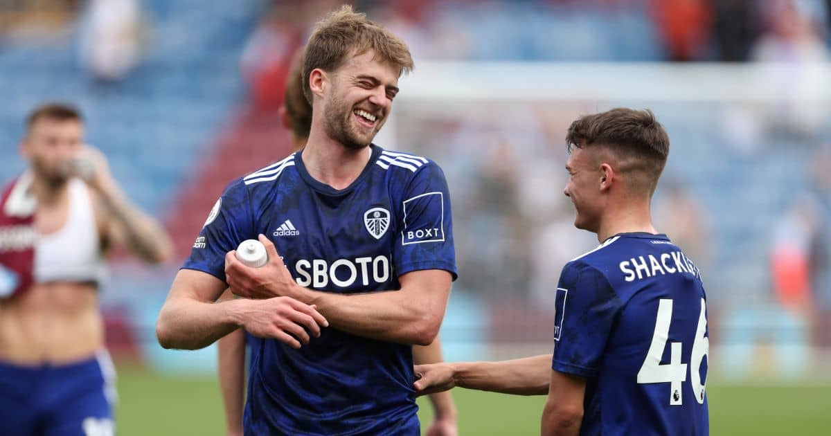 Leeds United's Patrick Bamford (left) celebrates with Jamie Shackleton after the Premier League match at Turf Moor, Burnley
