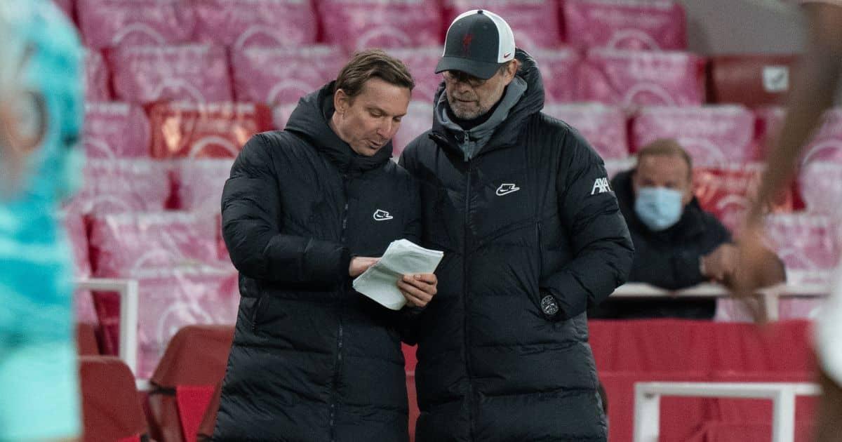 Liverpool coaches Pep Lijnders and Jurgen Klopp