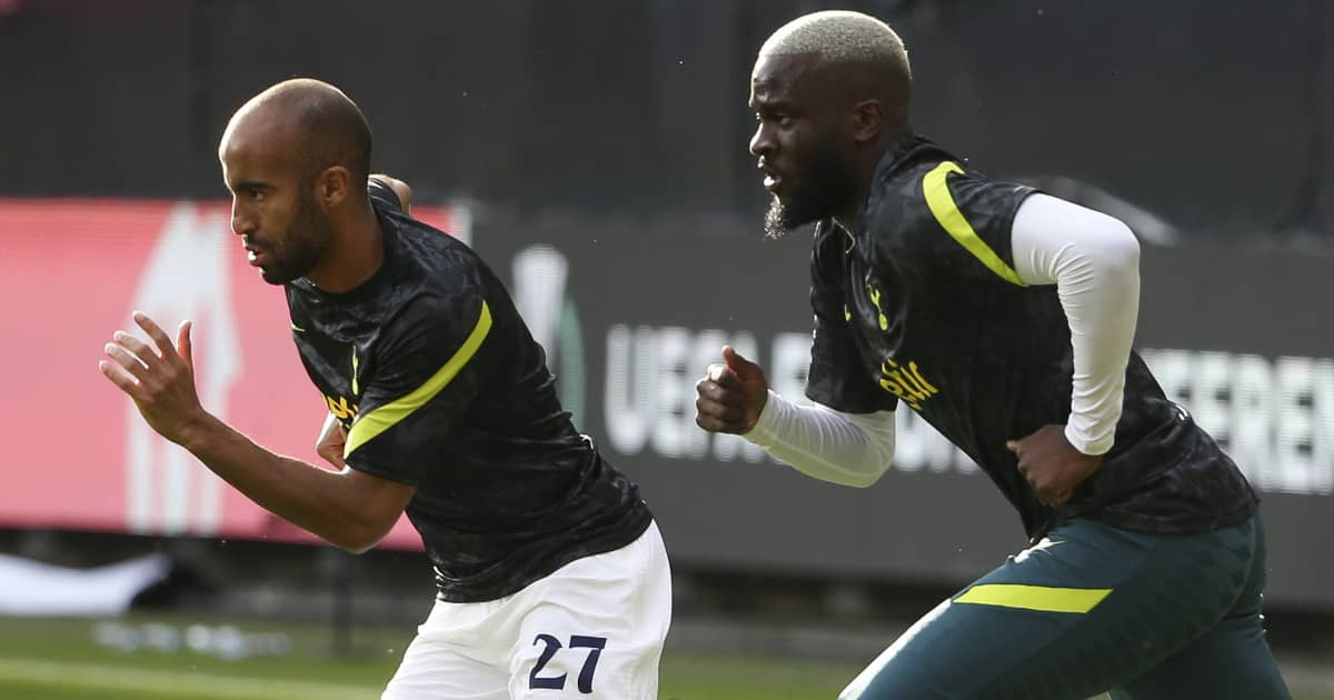 Tottenham pair Lucas Moura and Tanguy Ndombele warming up 2021